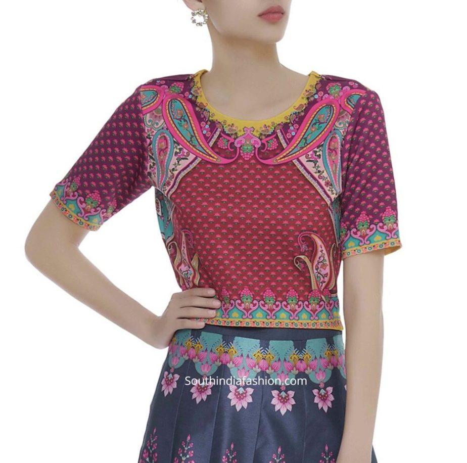 paisley design printed crop top blouse