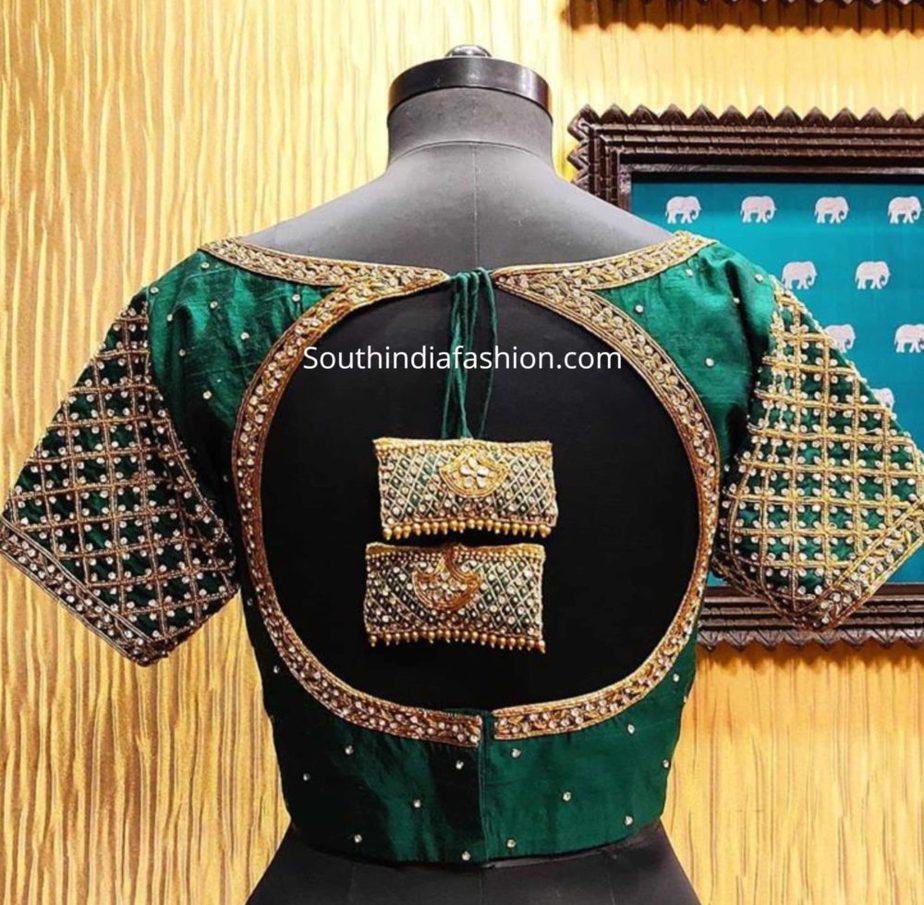 pattu saree blouse designs with latkans (1)