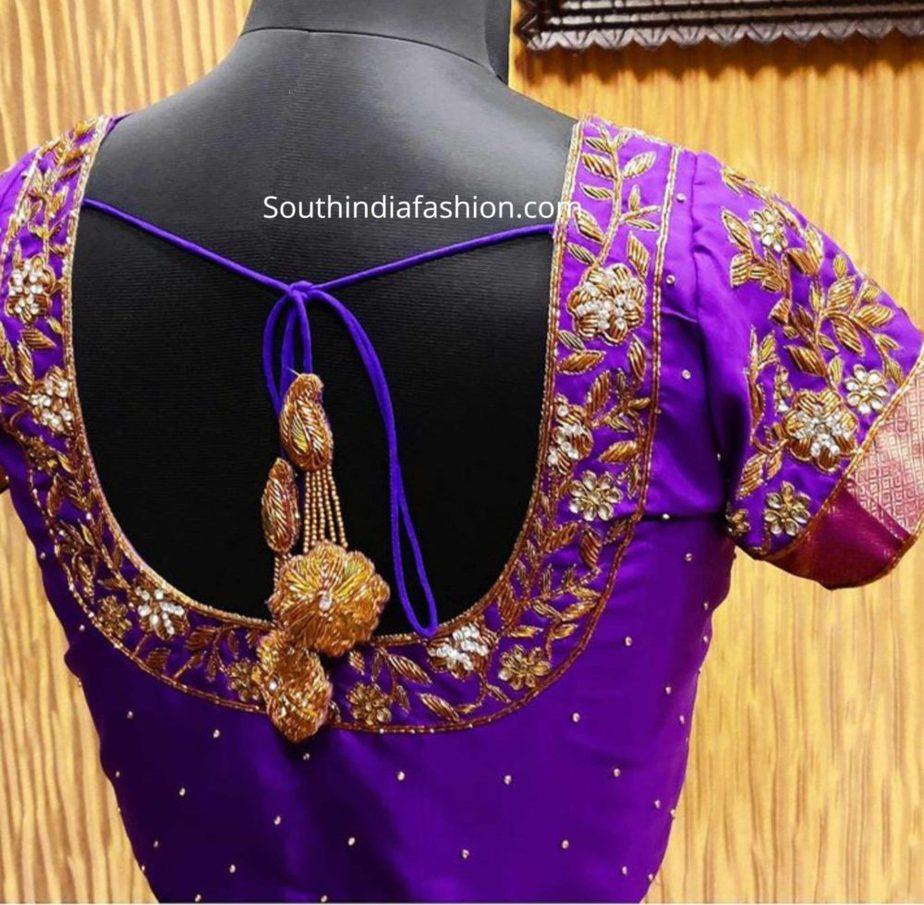 pattu saree blouse designs with latkans