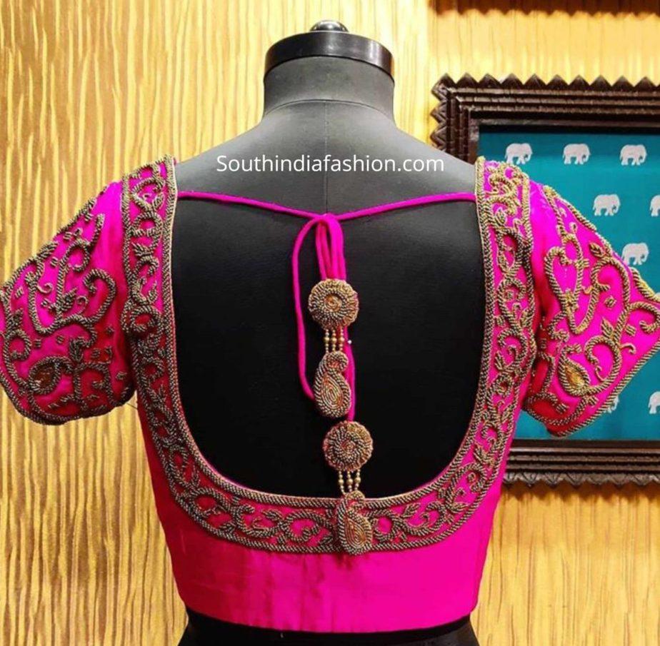 pattu saree blouse designs with tassels