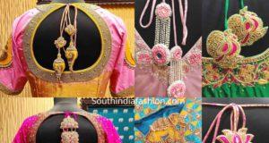 pattu saree blouse designs with unique latkans tassels