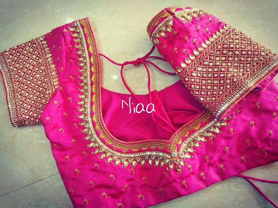 pink latest blouse design