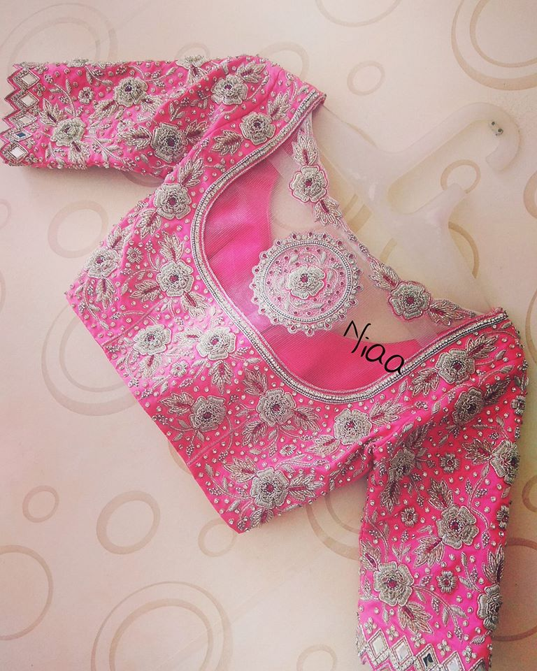 pink white zari work blouse