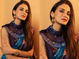 shilpa reddy blue handloom saree with high neck ruffle blouse