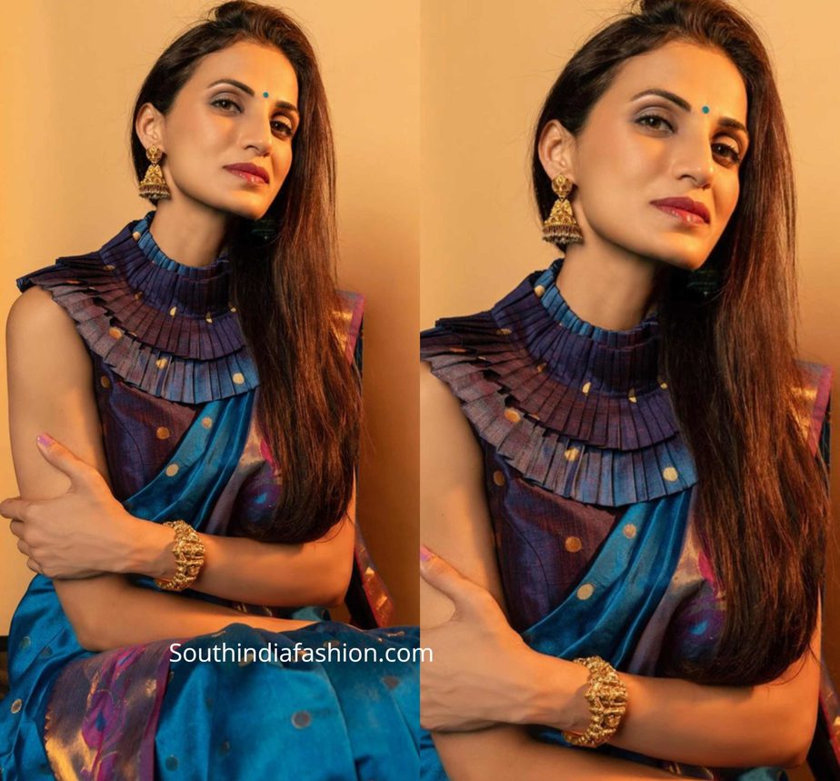 shilpa reddy blue handloom saree with high neck ruffle blouse