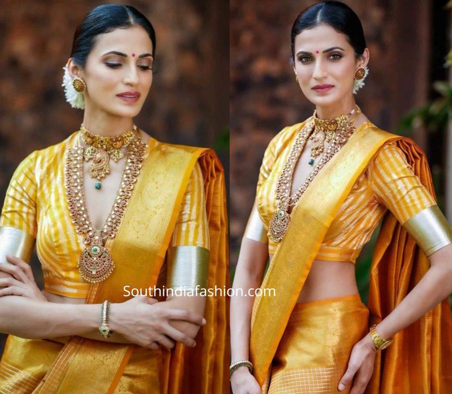 shilpa reddy yellow kanjeevaram pattu saree (2)