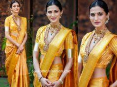 shilpa reddy yellow kanjeevaram pattu saree