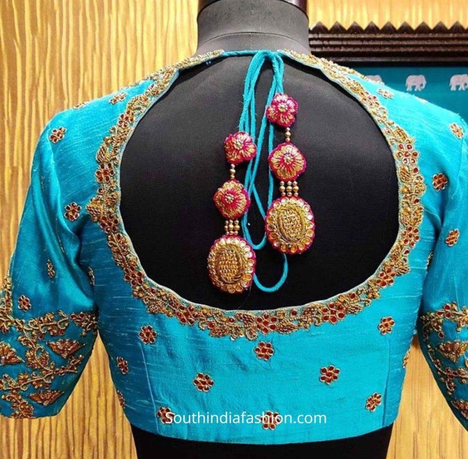 silk saree blouse designs tassels (1)