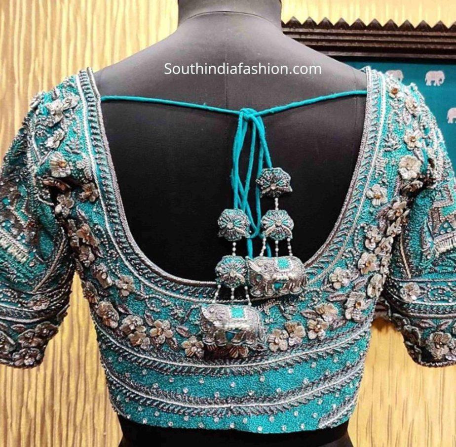 silk saree blouse designs tassels (2)