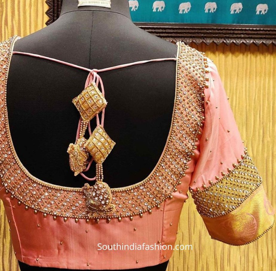 silk saree blouse designs tassels