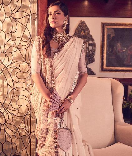 sonam kapoor double drape saree