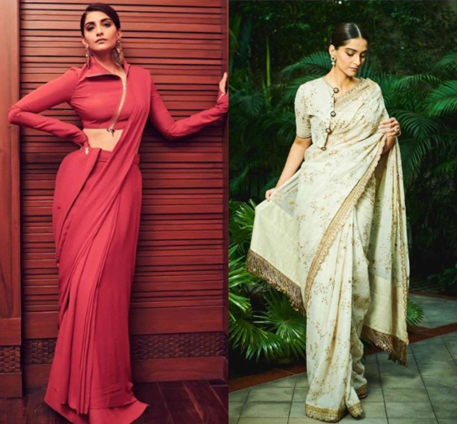 sonam kapoor unconventional saree looks