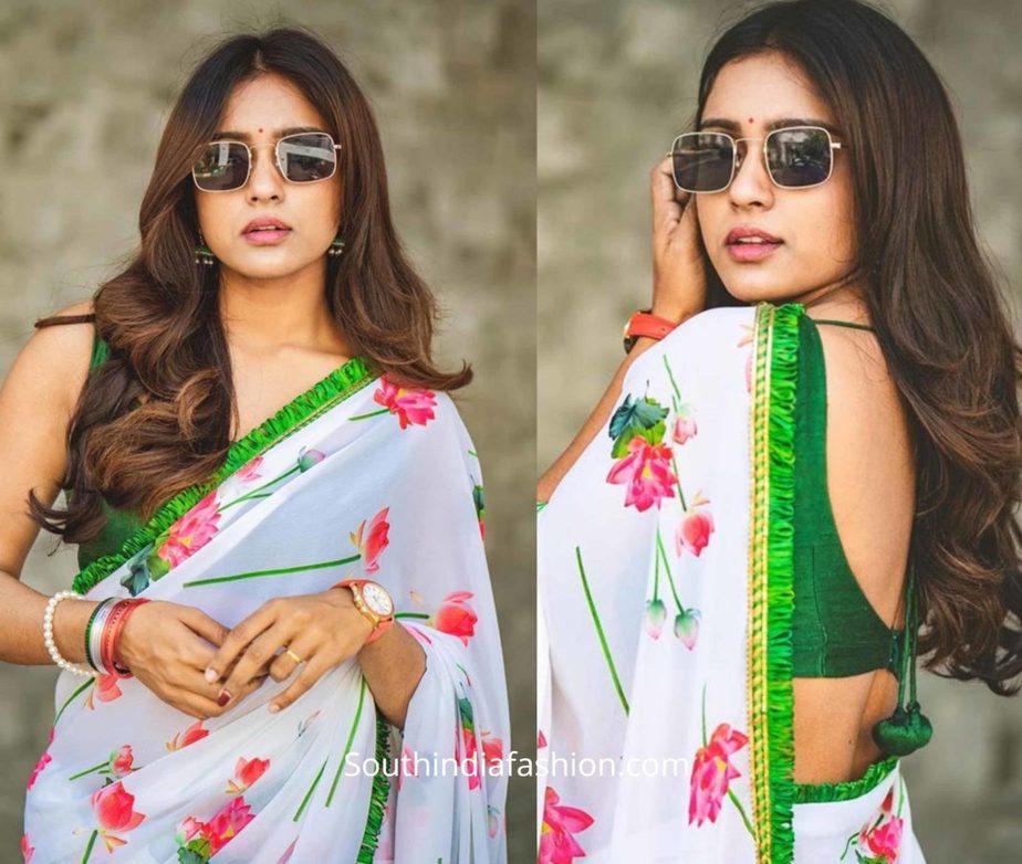 vithika sheru floral saree white color (2)