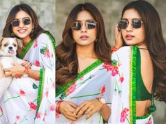 vithika sheru floral saree white color (2)