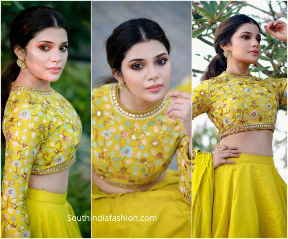 aathmika in yellow lehenga by divya reddy (2)