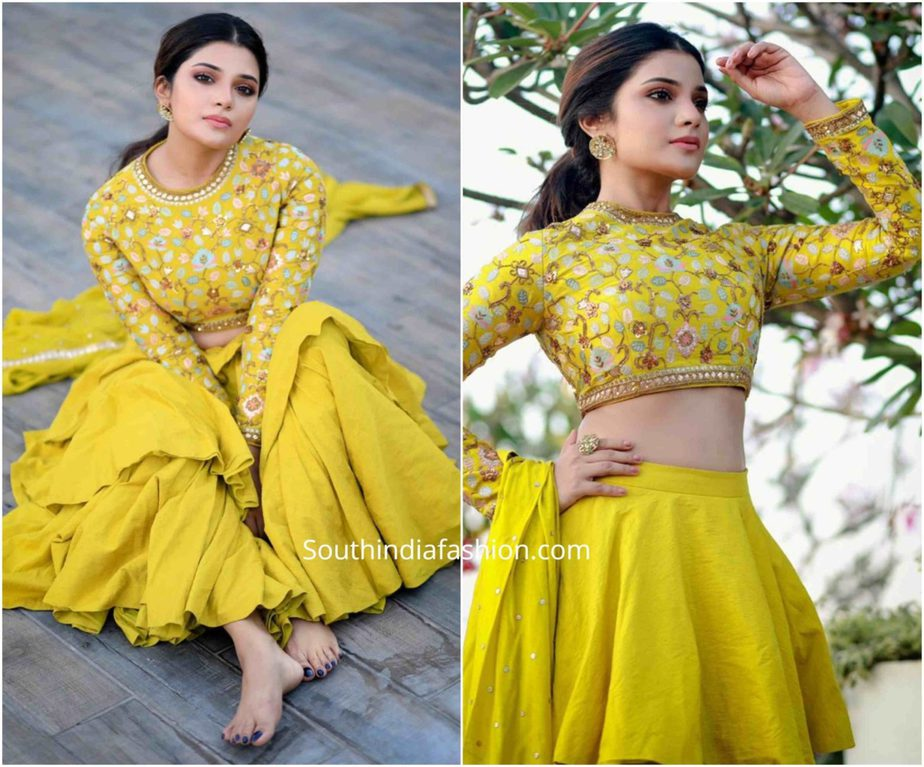 aathmika in yellow lehenga by divya reddy