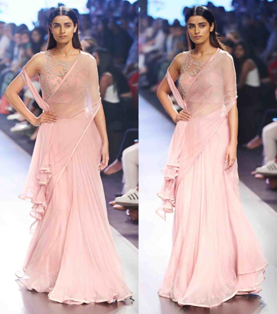 anushree reddy pink saree