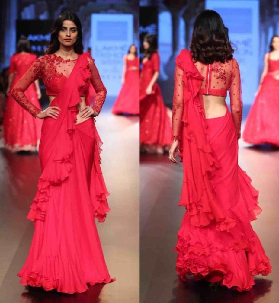 anushree reddy red ruffle saree