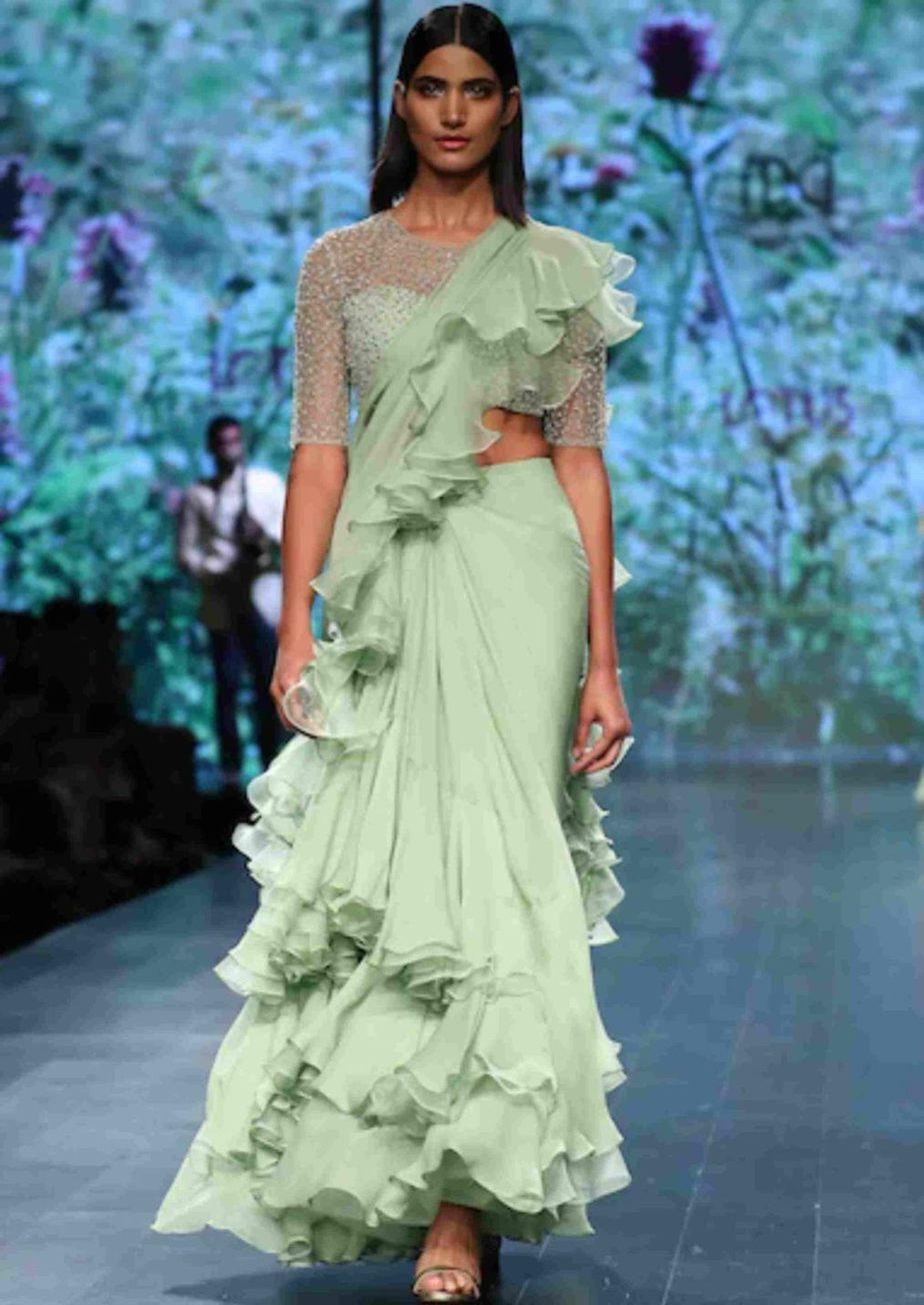 anushree reddy ruffle sarees
