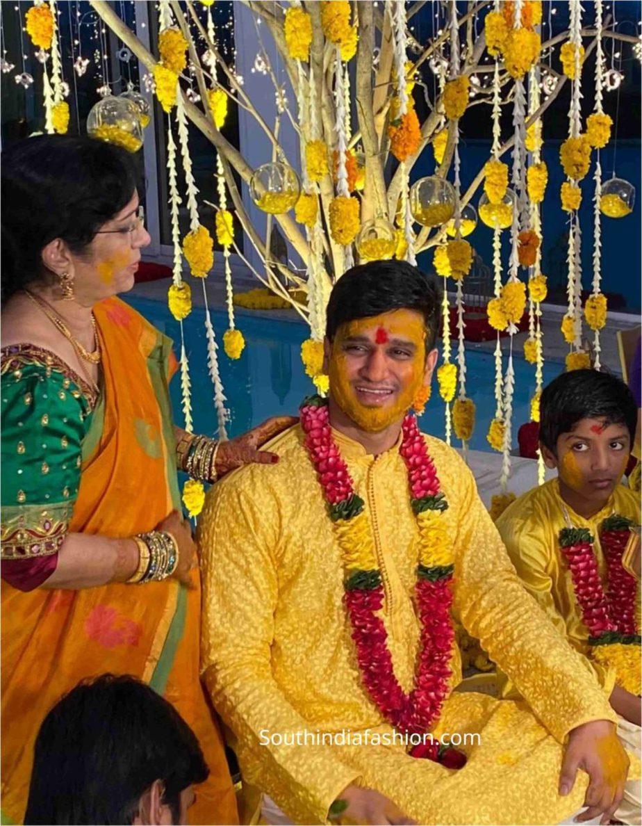 hero nikhil siddarth haldi function photos (1)