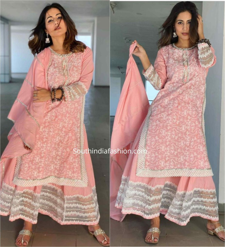 hina khan pink sharara suit eid (1)