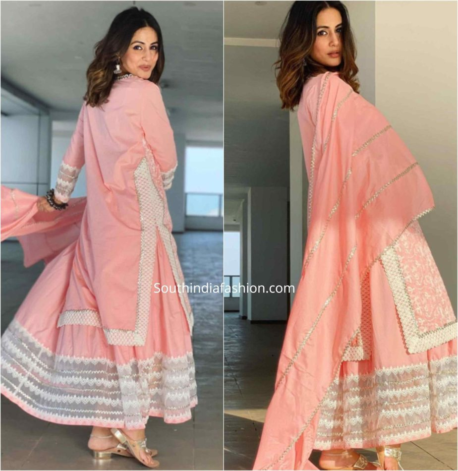 hina khan pink sharara suit eid (2)