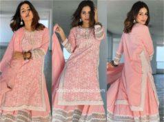 hina khan pink sharara suit eid