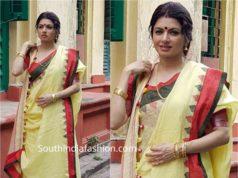 bhagya shree linen saree bengali drape