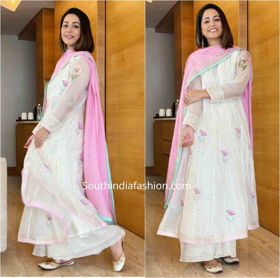 hina khan white palazzo suit