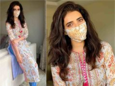 karishma tanna in gopi vaid kurta and mathcing mask