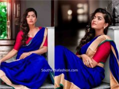 rashmika mandanna blue silk saree
