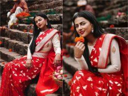 shraddha srinath red silk saree