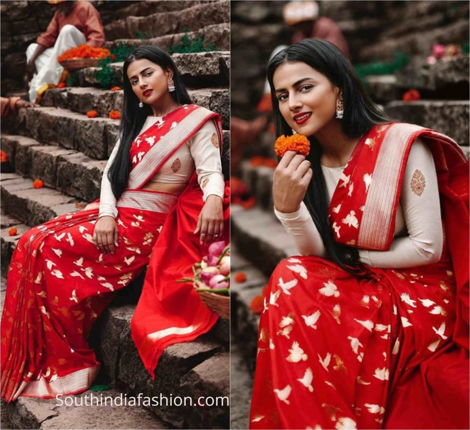 shraddha srinath red silk saree