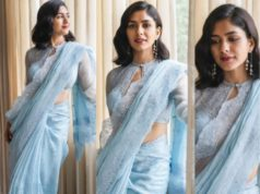 mrunal thakur blue saree
