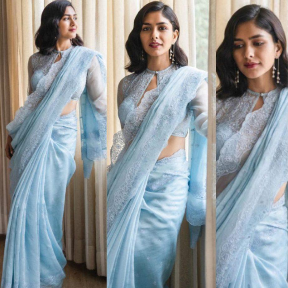 mrunal thakur blue saree