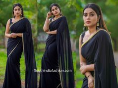 actress poorna black saree