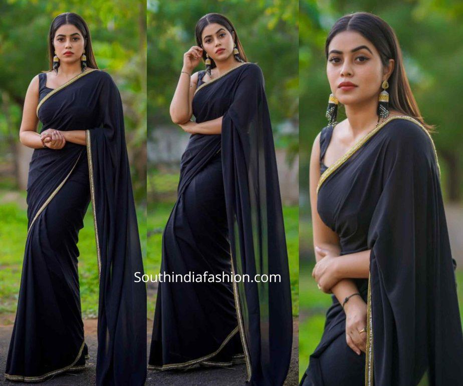 actress poorna black saree