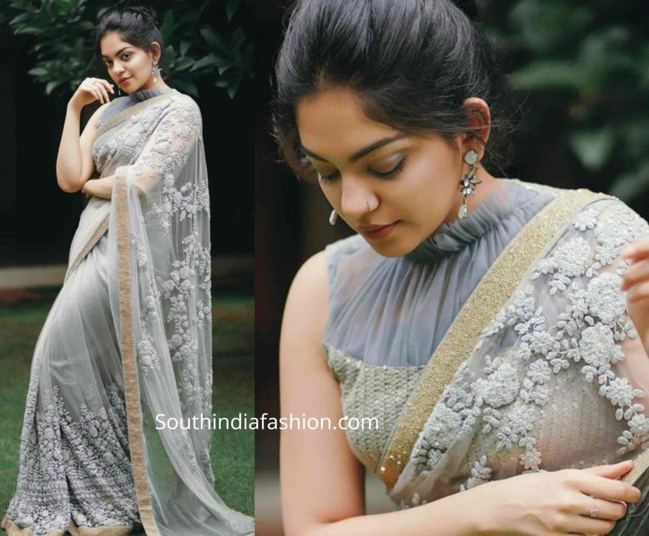 ahaana krishna grey saree ruffle blouse (1)