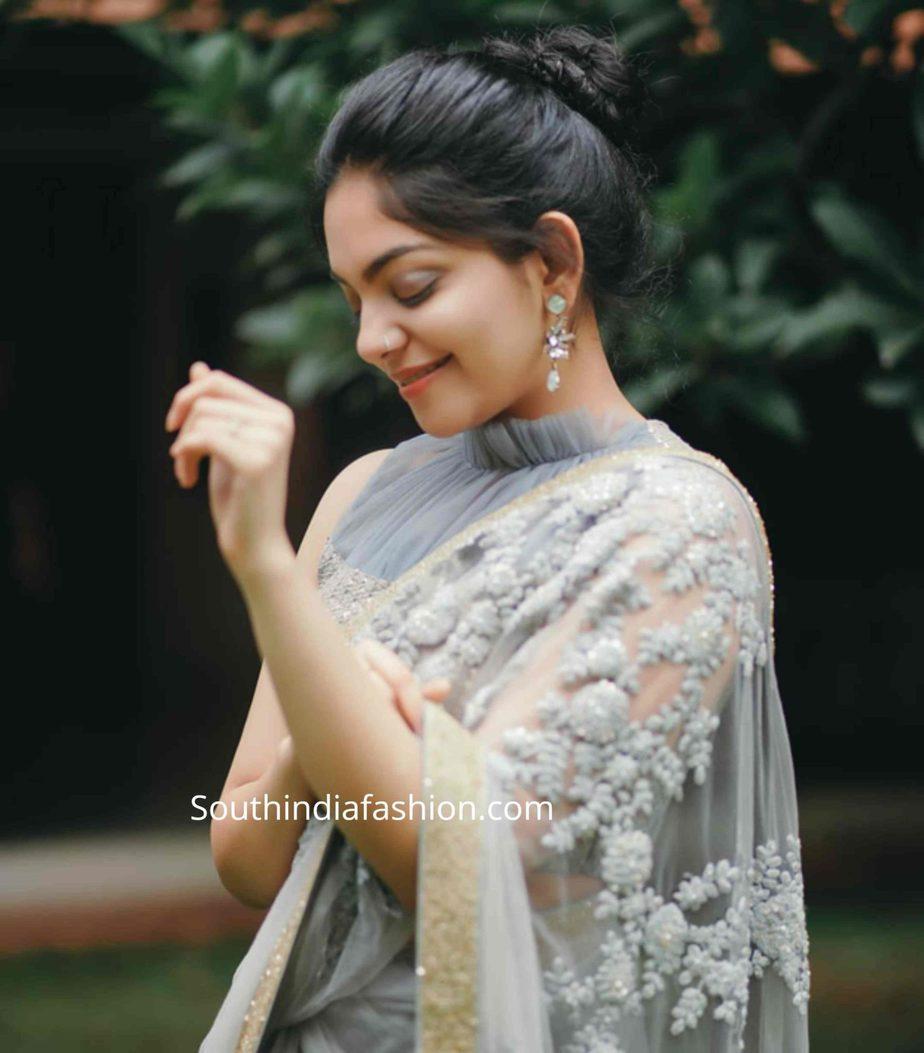 ahaana krishna grey saree ruffle blouse (2)