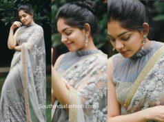 ahaana krishna grey saree ruffle blouse