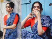 ahaana krishna in indigo blue cotton saree