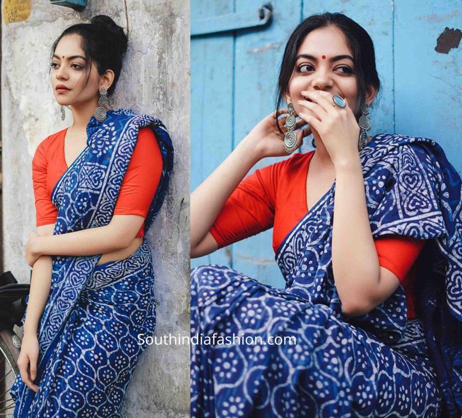 ahaana krishna in indigo blue cotton saree