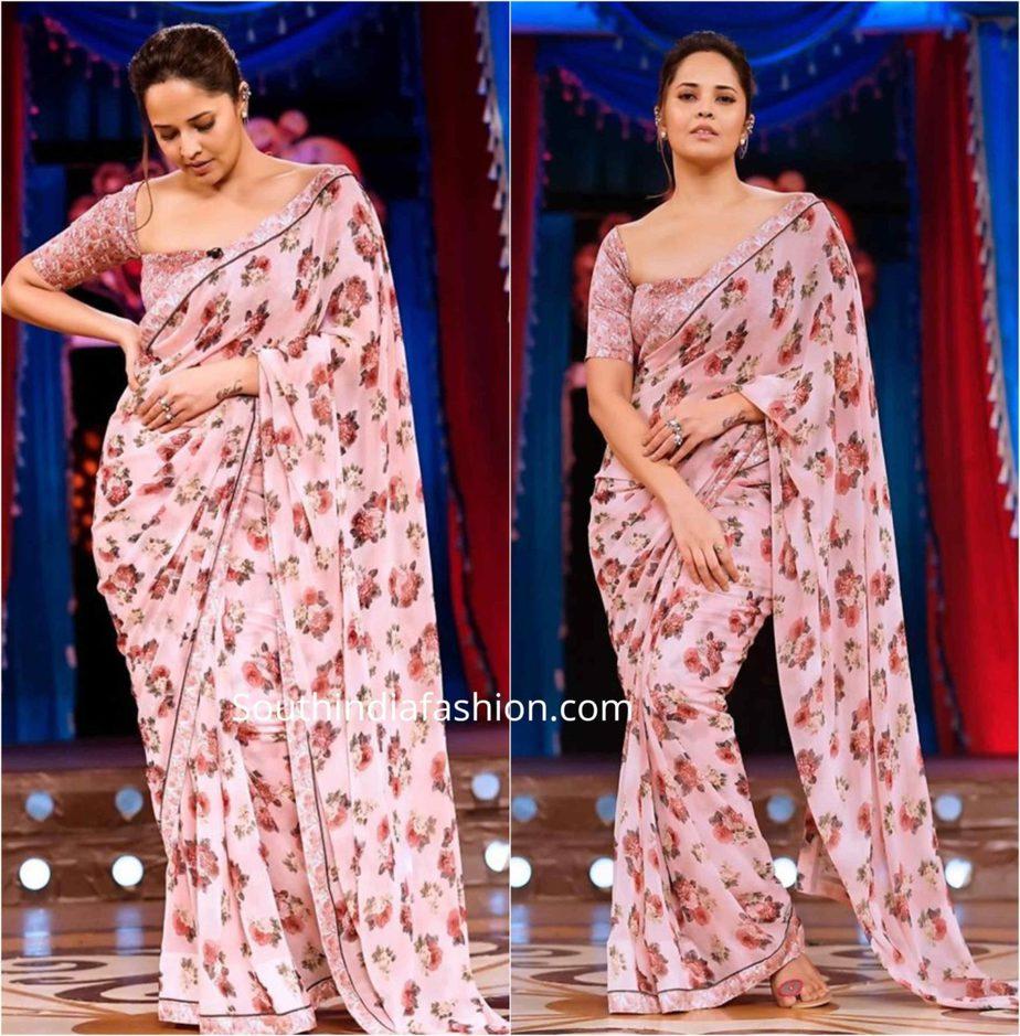 anasuya floral print saree