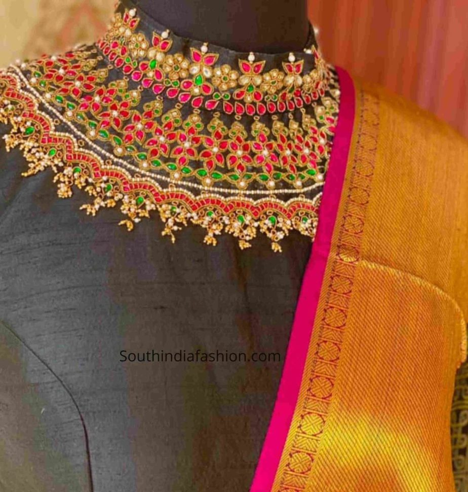 jeweled neck saree blouse designs 2020