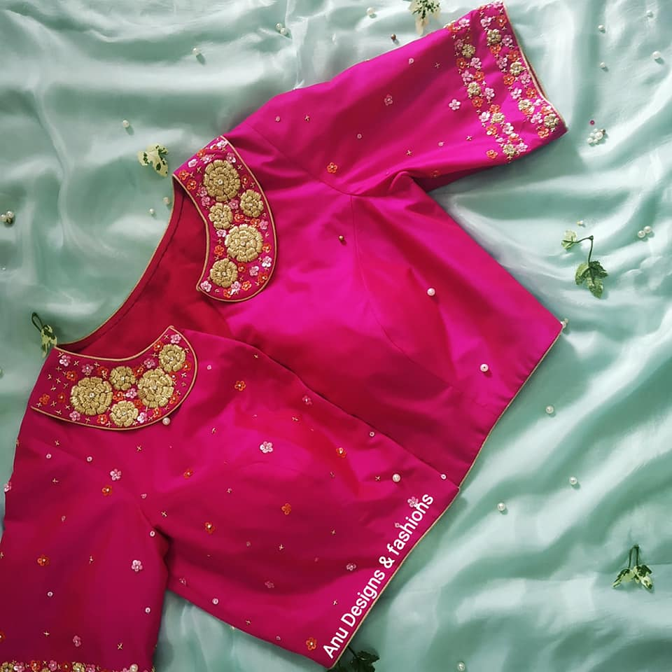 latest pattu saree blouse designs 2020 for silk sarees (10)