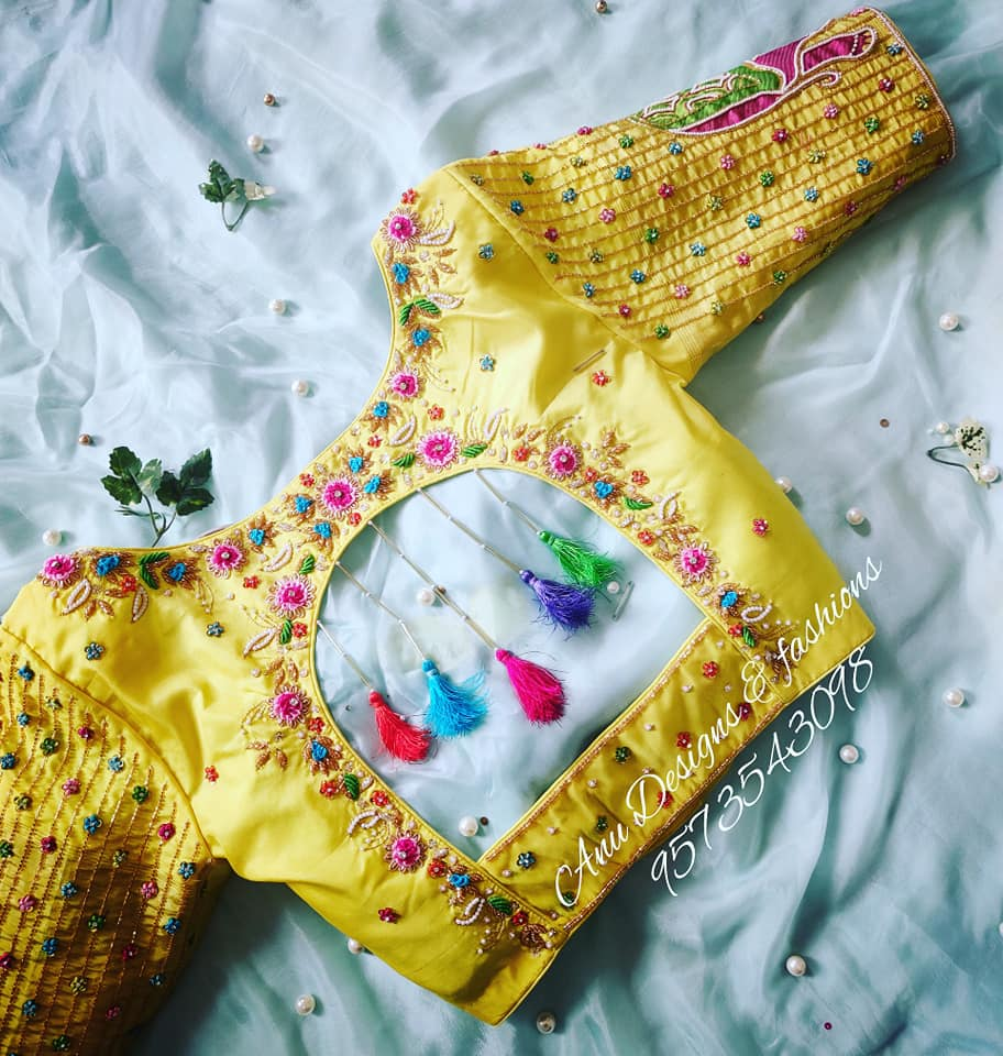 latest pattu saree blouse designs 2020 for silk sarees (27)