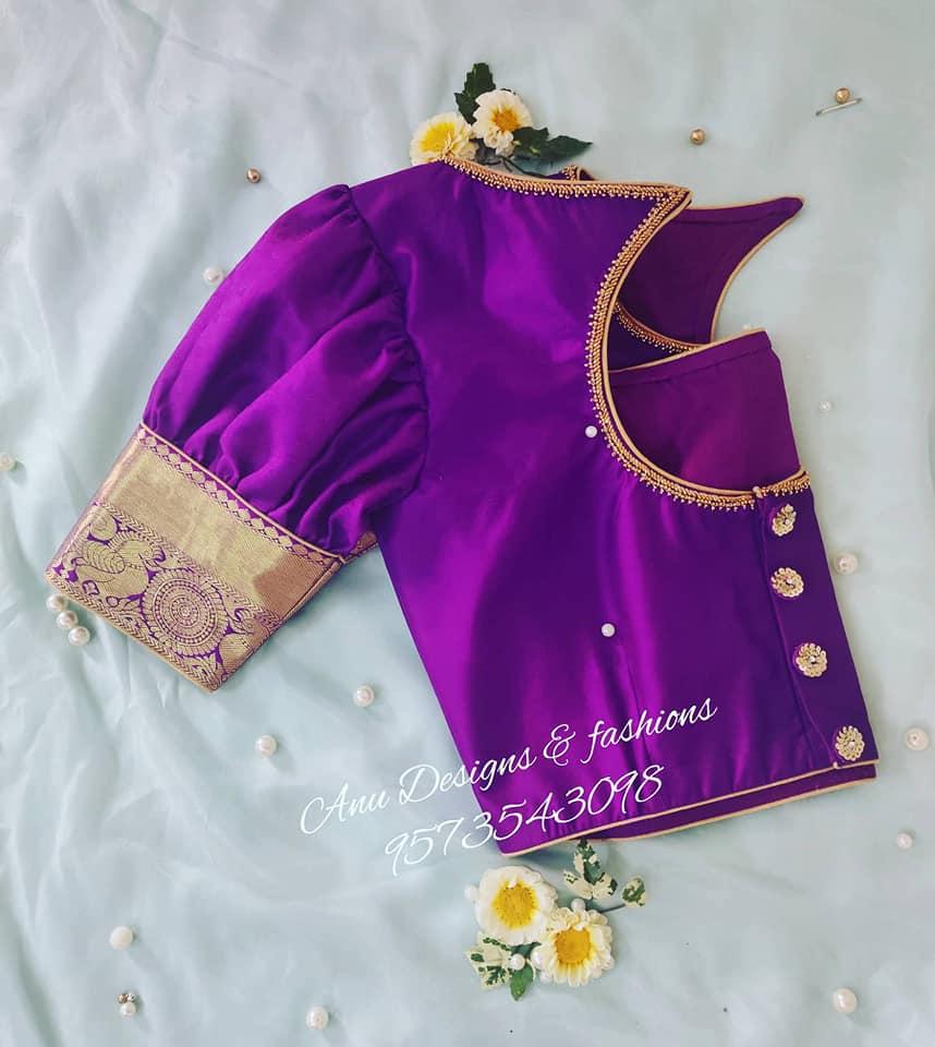 latest pattu saree blouse designs 2020 for silk sarees (40)