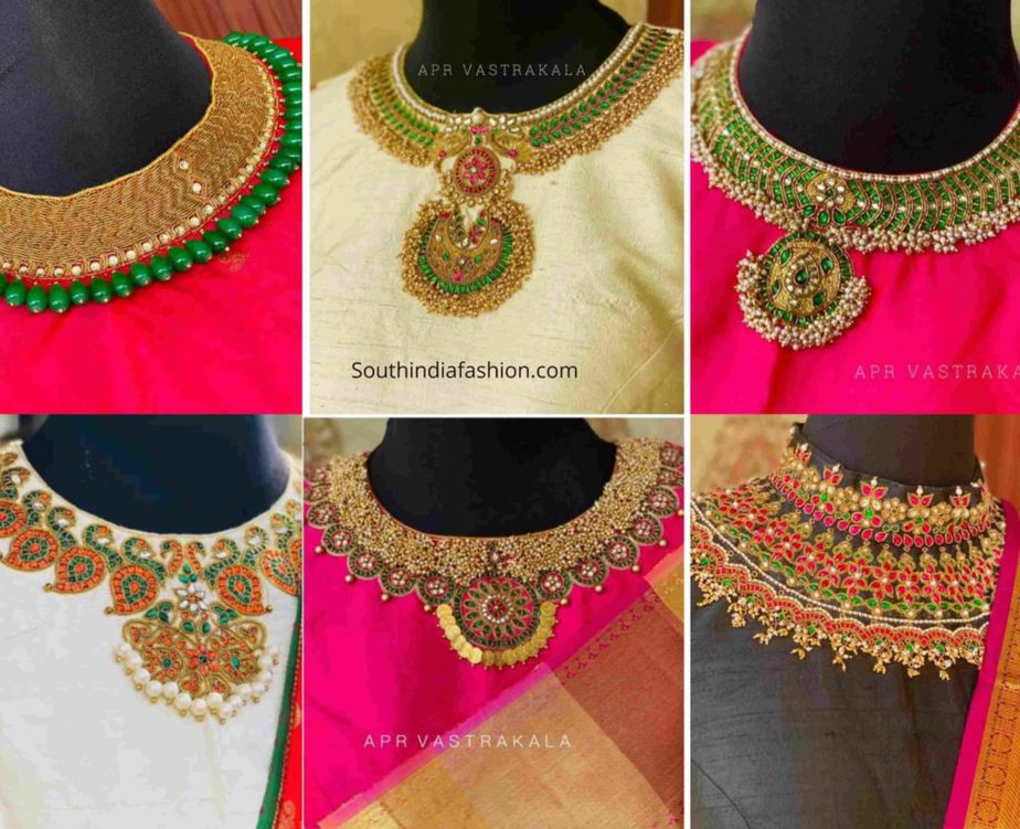 necklace design blouses for sarees