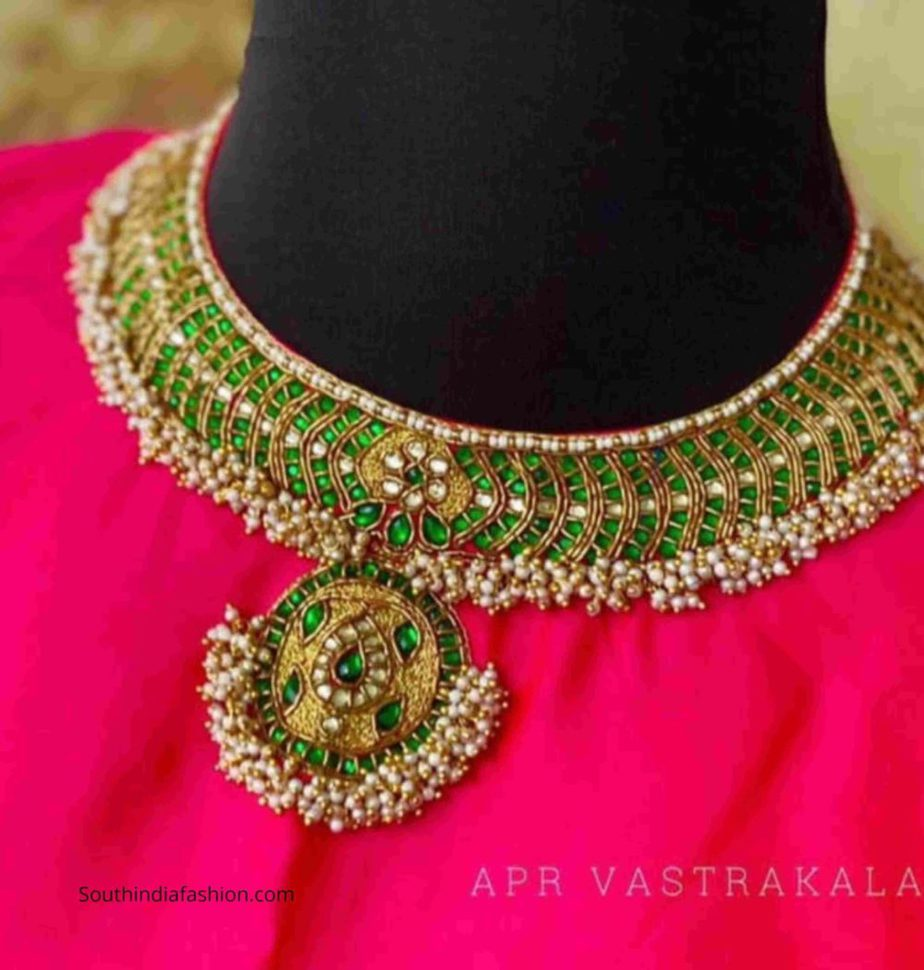 necklace embroidery design blouses for sarees