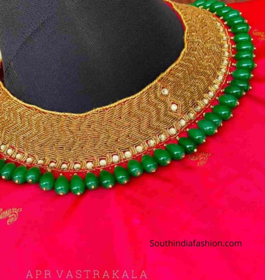necklace embroidery on pattu saree blouse